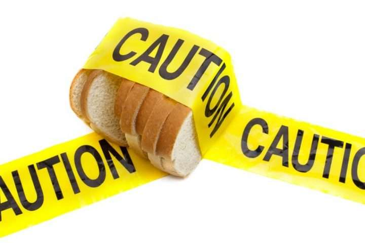 White bread with caution tape on it