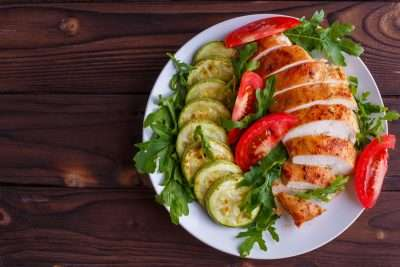 Low carb meal with chicken and salad