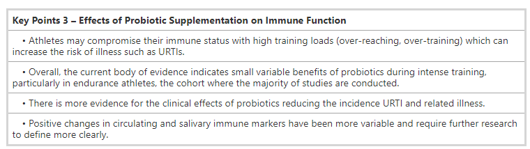 Summary from the ISSN Position Stand on probiotics and URTIs